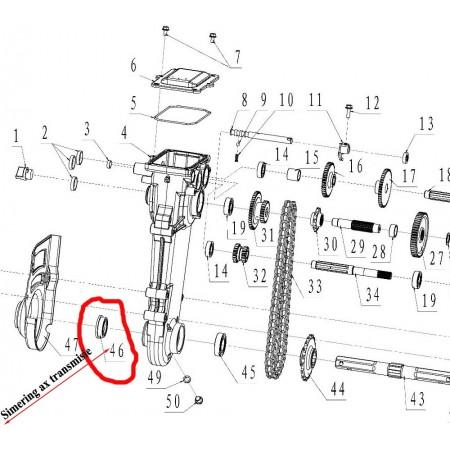 Simering dreapta ax transmisie motosapa Ruris, DAC, Zimbru, Gigant