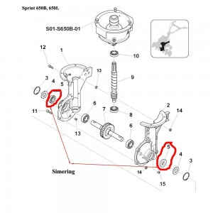 Simering semicarter transmisie Sprint 650B, 650L, 550H, Farm 450.